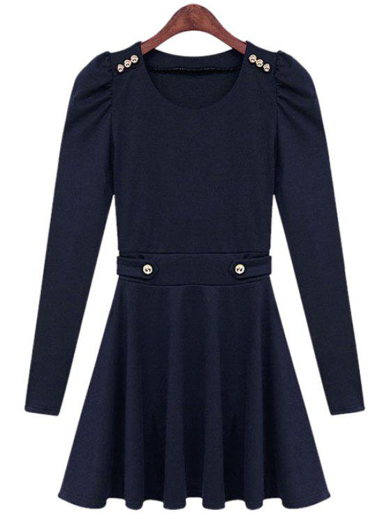 chic Solid Color Long Sleeve Dress - BLUE S