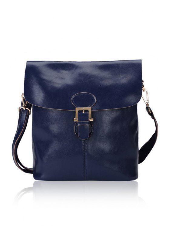 unique Solid Color Buckle Crossbody Bag - SAPPHIRE BLUE