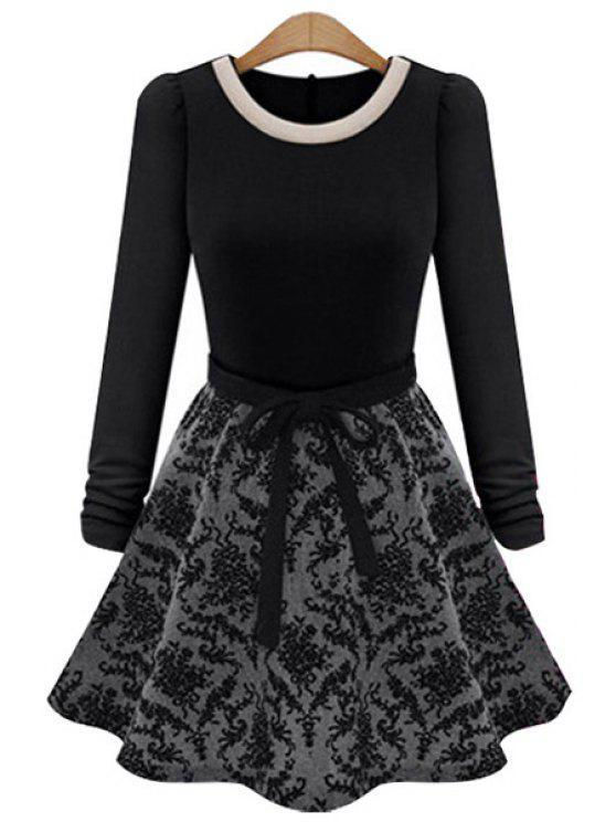women's Long Sleeves Print Splicing Dress - BLACK S