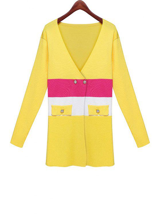 shop Long Sleeves Color Block Cardigan - YELLOW ONE SIZE(FIT SIZE XS TO M)