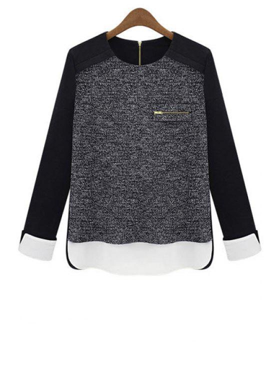 hot Color Block Long Sleeves Knitwear - BLACK AND GREY L