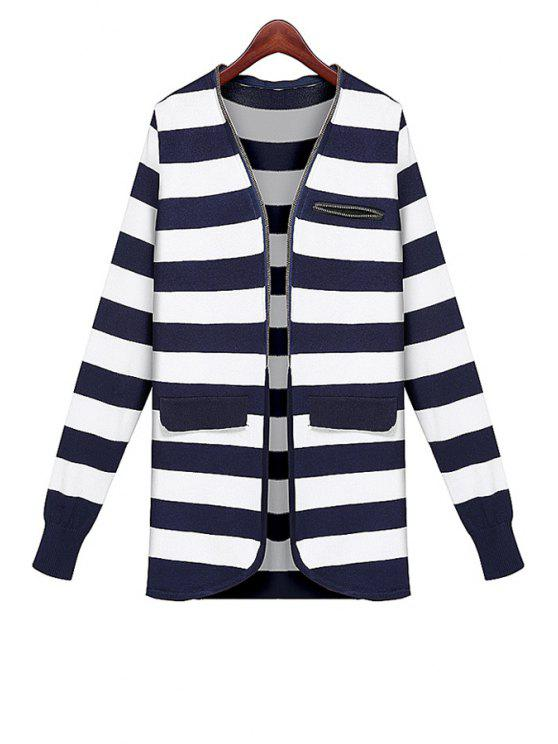 latest V-Neck Striped Pattern Cardigan - STRIPE ONE SIZE(FIT SIZE XS TO M)