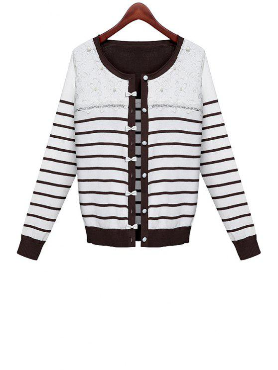 chic Striped Lace Splicing Cardigan - WHITE ONE SIZE(FIT SIZE XS TO M)