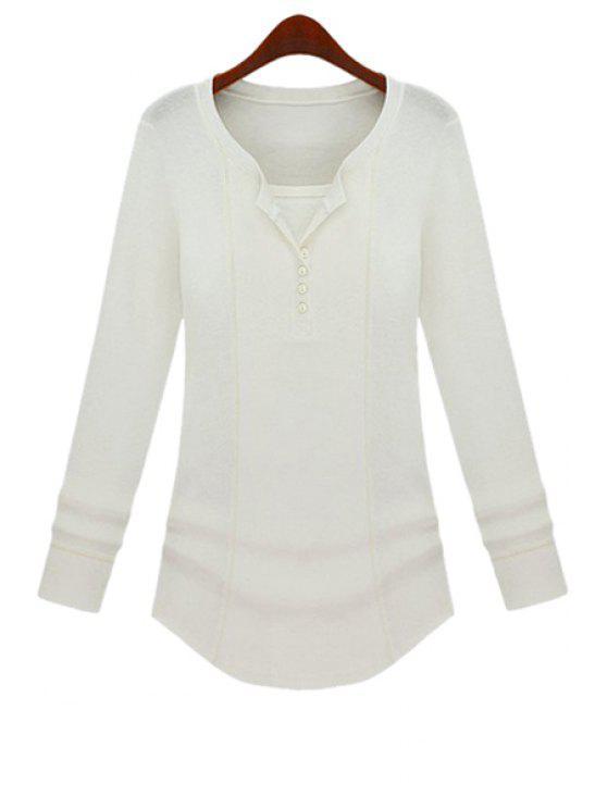 unique Long Sleeve Solid Color T-Shirt - WHITE S