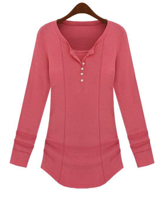 trendy Long Sleeve Solid Color T-Shirt - PINK M