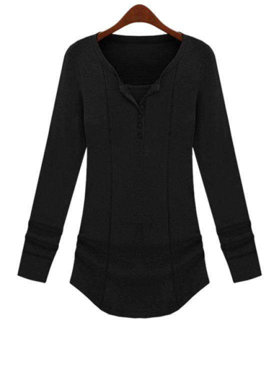 hot Long Sleeve Solid Color T-Shirt - BLACK M