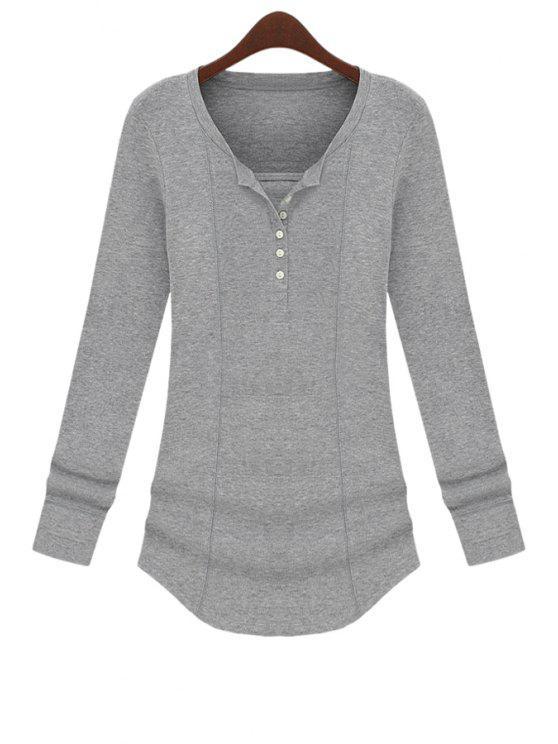 unique Long Sleeve Solid Color T-Shirt - GRAY M