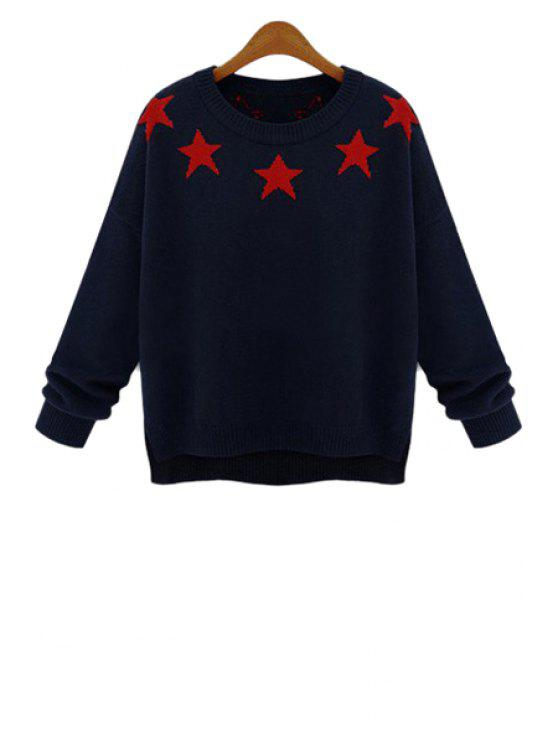 unique Star Pattern Long Sleeve Sweater - BLUE ONE SIZE(FIT SIZE XS TO M)