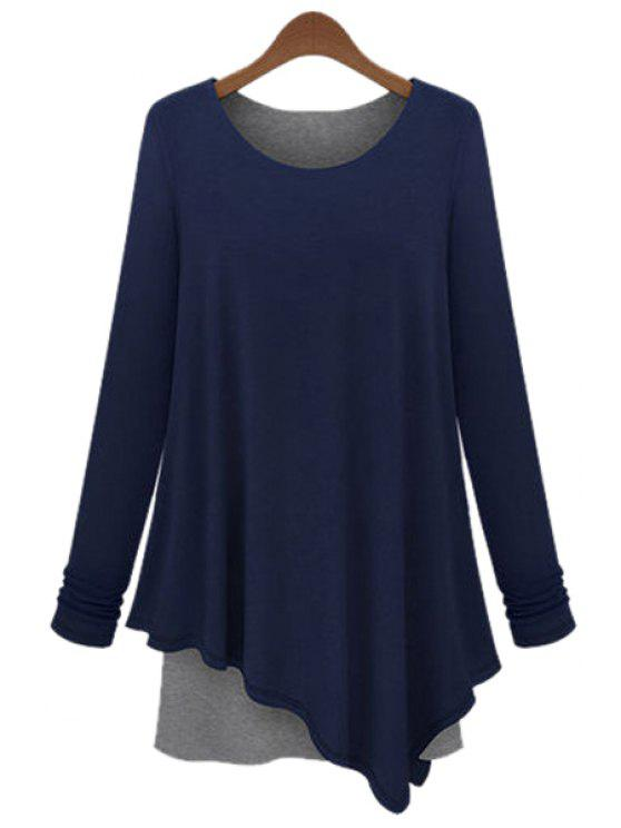 buy Long Sleeve Color Block T-Shirt - BLUE S