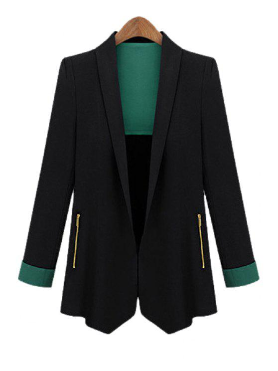 outfits Shawl Collar Solid Color Blazer - BLACK L