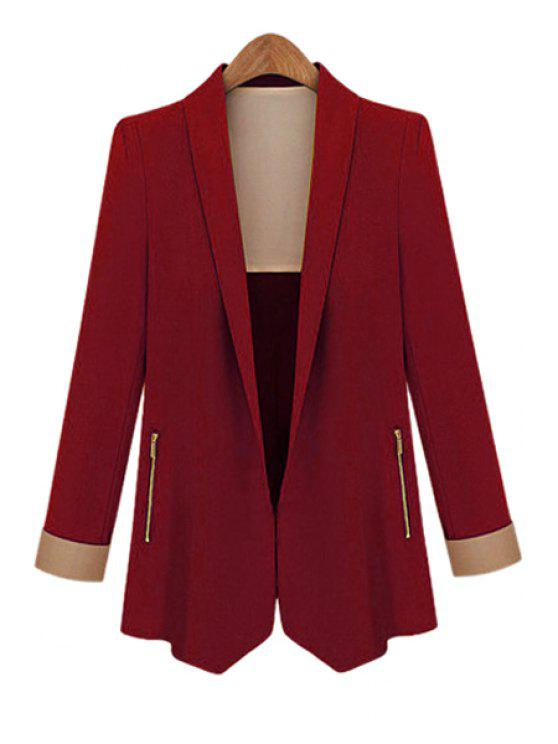 affordable Shawl Collar Solid Color Blazer - WINE RED M