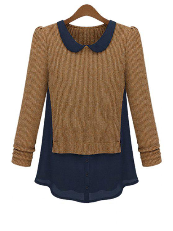 outfit Peter Pan Collar Chiffon Splicing Knitwear - KHAKI M