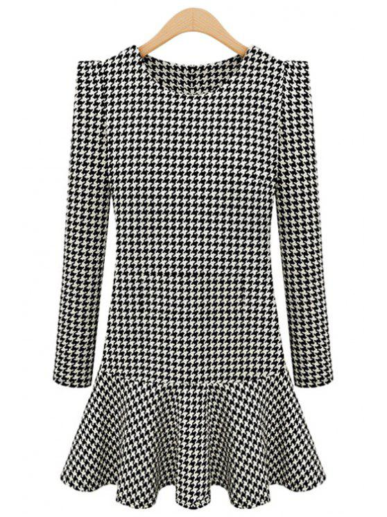 latest Houndstooth Pattern Ruffles Dress - WHITE AND BLACK S