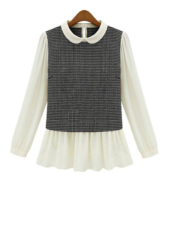 latest Peter Pan Collar Checked Splicing Blouse - BLACK S