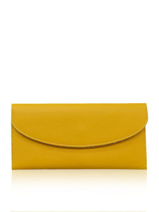 shops Solid Color Pu Leather Envelope Design Wallet - YELLOW