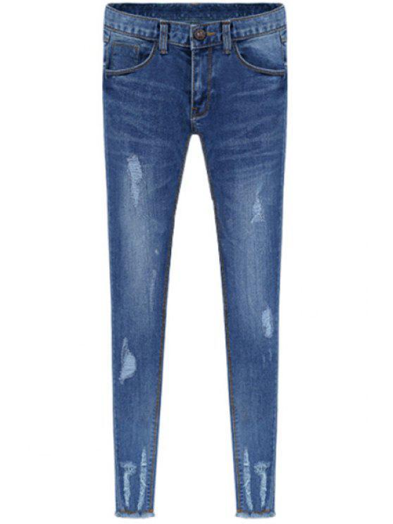 hot Broken Hole Skinny Jeans - BLUE 26