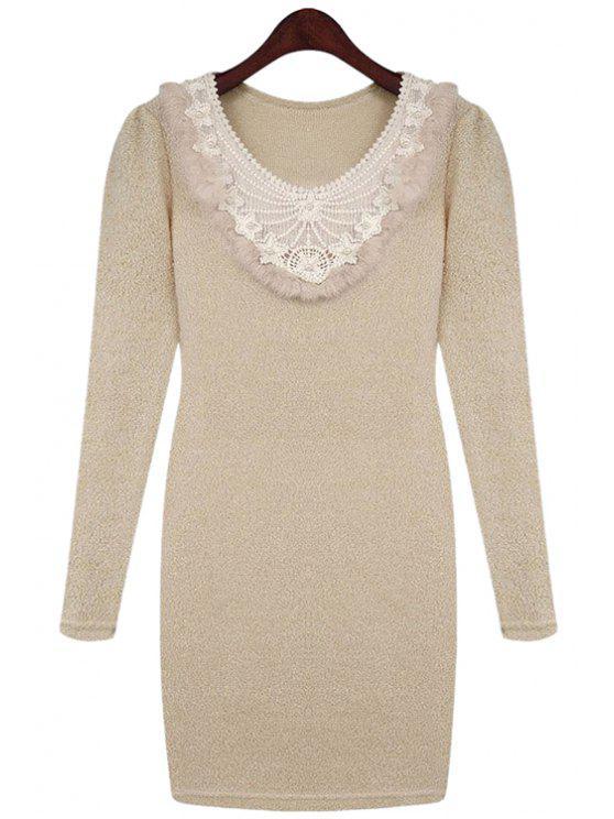 shops Crochet Splicing Sweater Dress - LIGHT APRICOT L