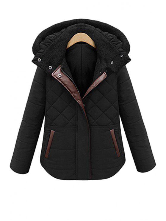 shops Hooded PU Leather Splicing Coat - BLACK XL