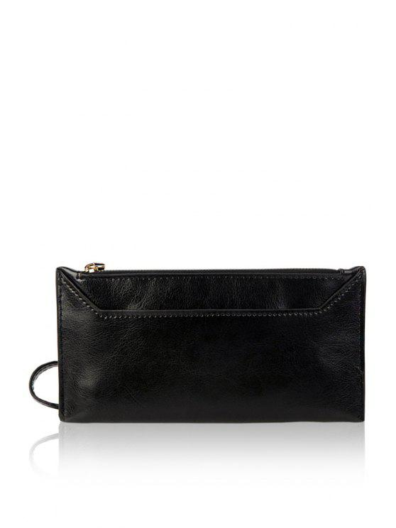 womens PU Leather Solid Color Zipper Wallet - BLACK