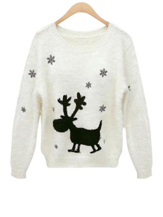 new Deer and Snowflake Pattern Sweater - OFF-WHITE ONE SIZE(FIT SIZE XS TO M)