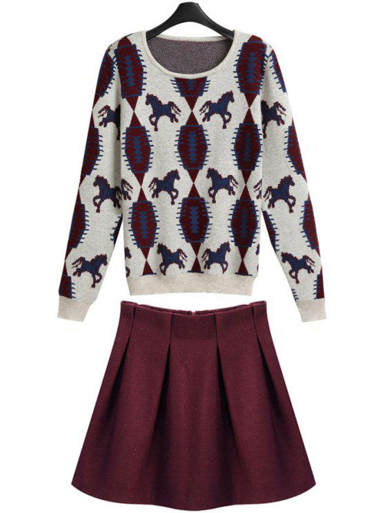 women's Horse Pattern and Solid Color Skirt Suit - COLORMIX S