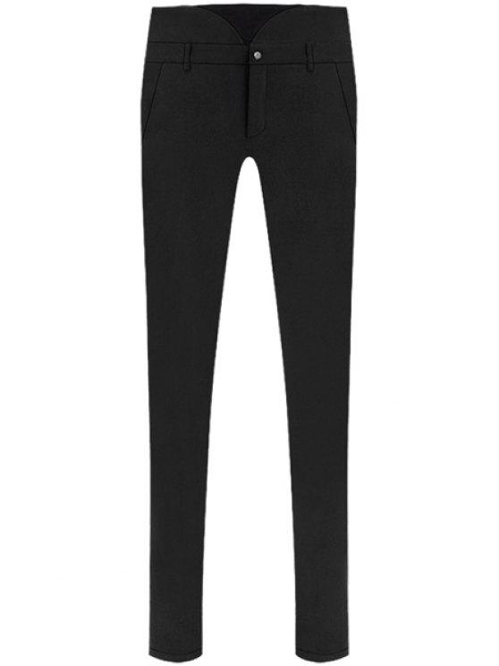 womens Skinny Solid Color Flocking Pants - BLACK S