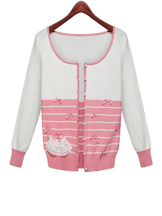 shops Striped Splicing Bowknot Cardigan - PINK AND WHITE ONE SIZE(FIT SIZE XS TO M)
