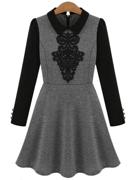 trendy Crochet Splicing Long Sleeve Dress - GRAY S