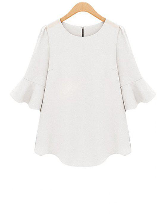 women's Solid Color Half Sleeve Blouse - WHITE S