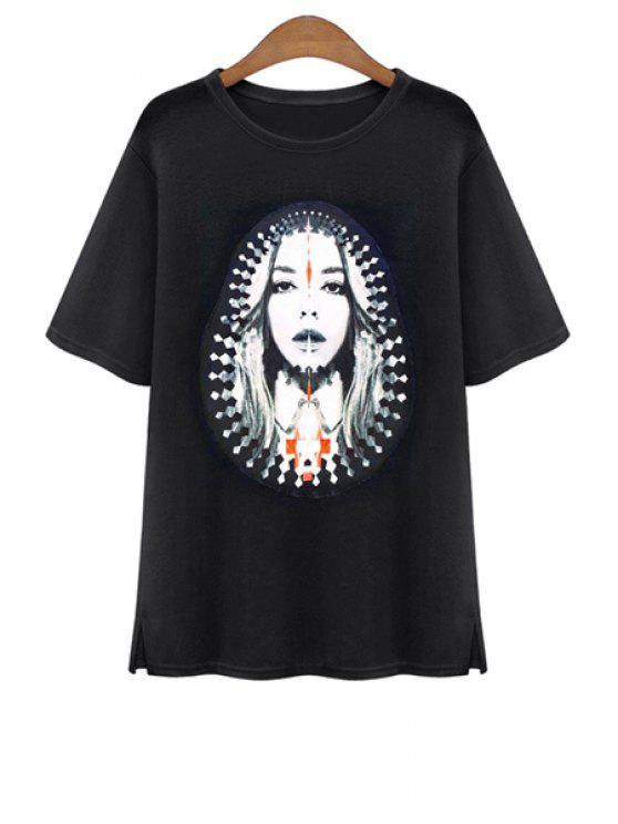 shop Short Sleeve Portrait Print T-Shirt - BLACK ONE SIZE(FIT SIZE XS TO M)