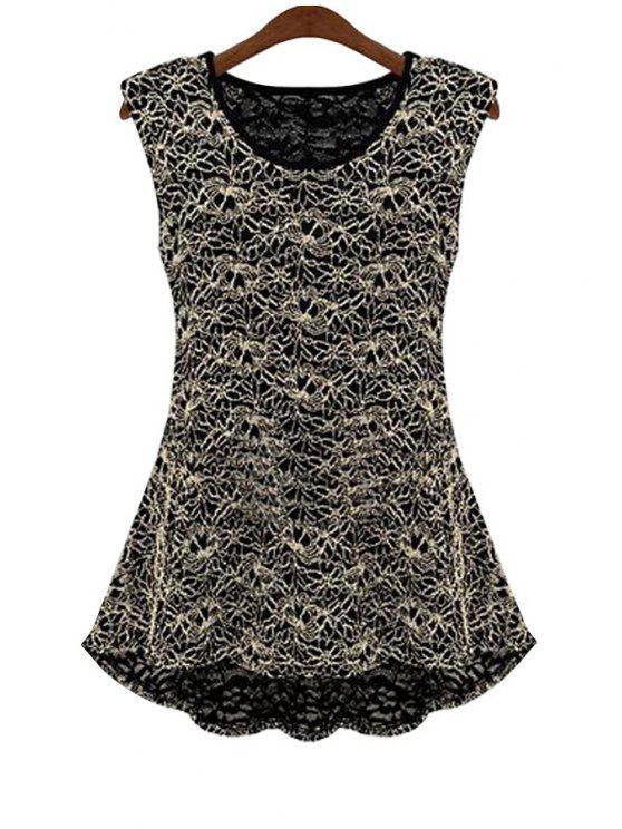 ladies Lace Flouncing Sleeveless Blouse - BLACK M