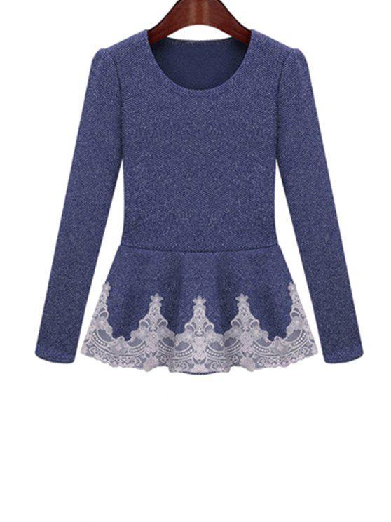 women Lace Ruffles Splicing Knitwear - DEEP BLUE S