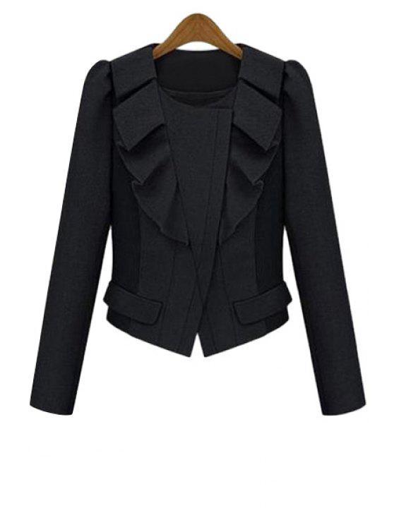 womens Ruffles Splicing Long Sleeve Jacket - BLACK S