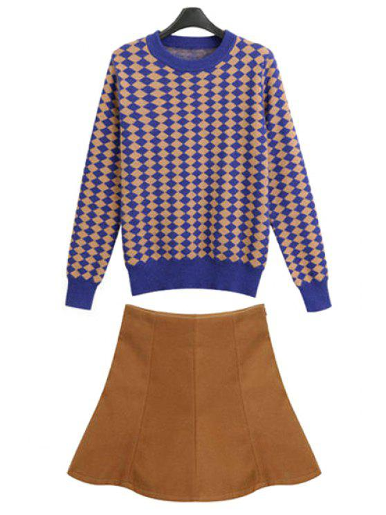 sale Argyle Pattern Sweater and Skirt Skirt - DARK KHAKI S