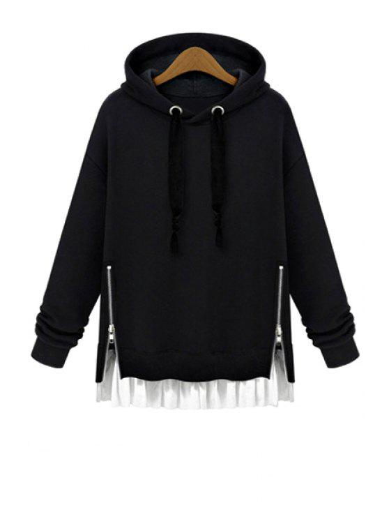 best Hooded Ruffles Splicing Zipper Hoodie - BLACK S