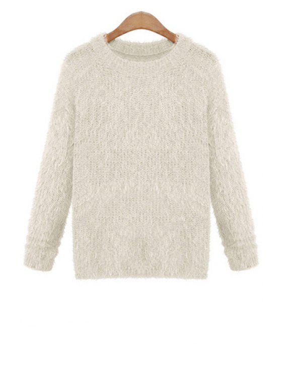 fashion Mohair Solid Color Sweater - WHITE ONE SIZE(FIT SIZE XS TO M)