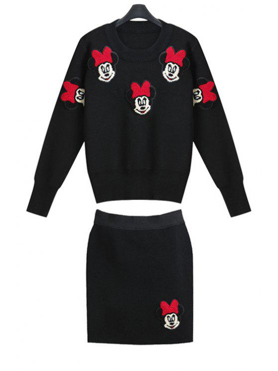 latest Cartoon Pattern Sweater and Skirt Suit - BLACK S
