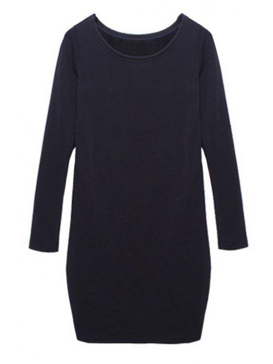 trendy Solid Color Long Sleeves Dress - SAPPHIRE BLUE M