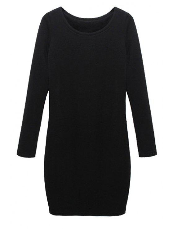 buy Solid Color Long Sleeves Dress - BLACK M