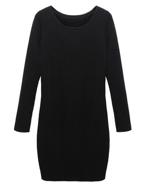 buy Solid Color Long Sleeves Dress - BLACK M