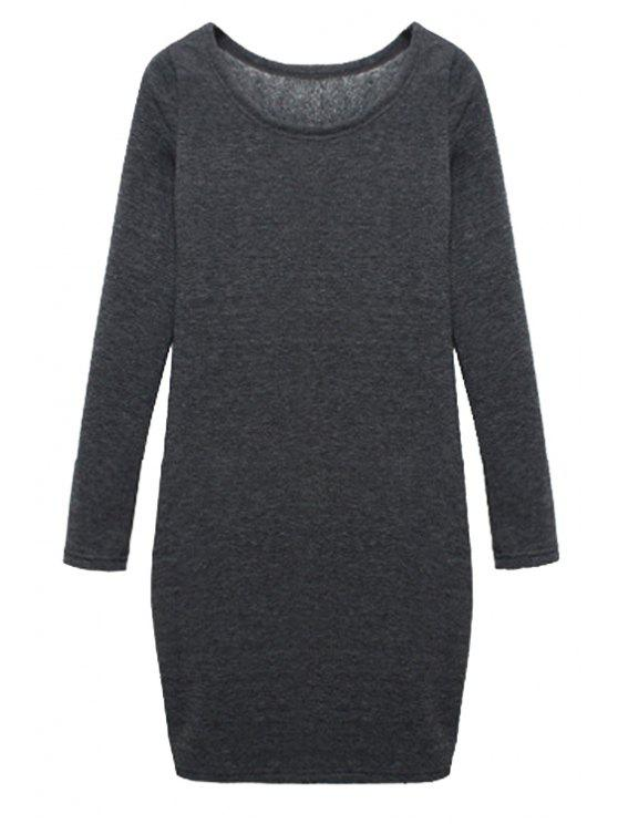 latest Solid Color Long Sleeves Dress - DEEP GRAY M