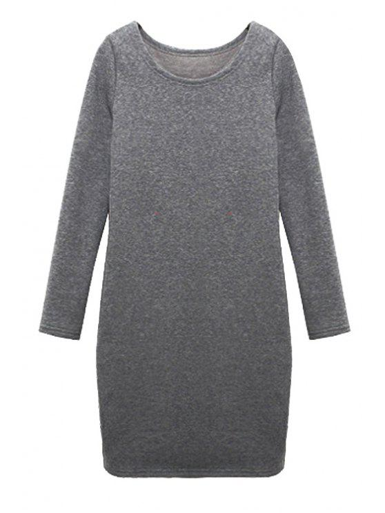 lady Solid Color Long Sleeves Dress - LIGHT GRAY M