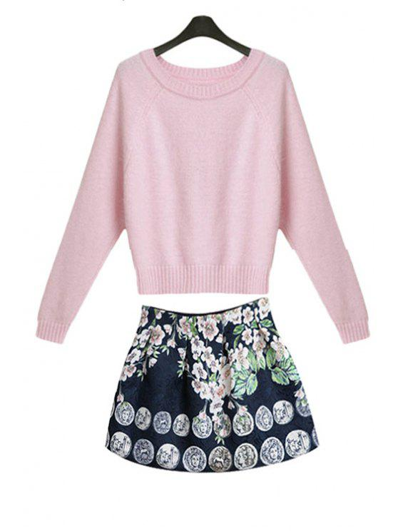 ladies Solid Color Sweater and Print Skirt Suit - PINK S