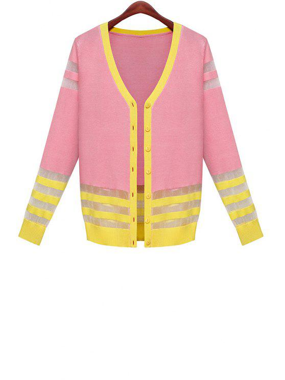 latest Color Block Voile Splicing Cardigan - YELLOW AND RED ONE SIZE(FIT SIZE XS TO M)