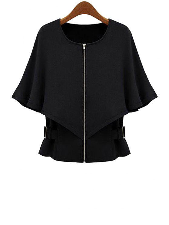 fancy Cape-Style Solid Color Coat - BLACK S