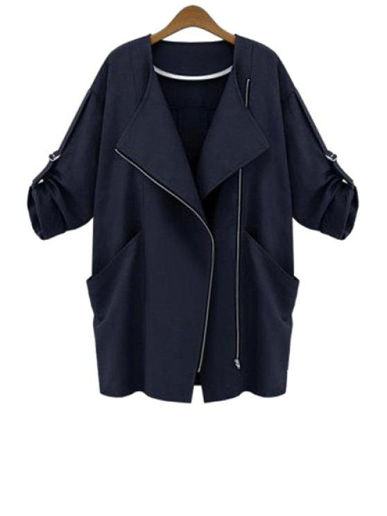 unique 3/4 Sleeve Solid Color Trench Coat - BLACK S