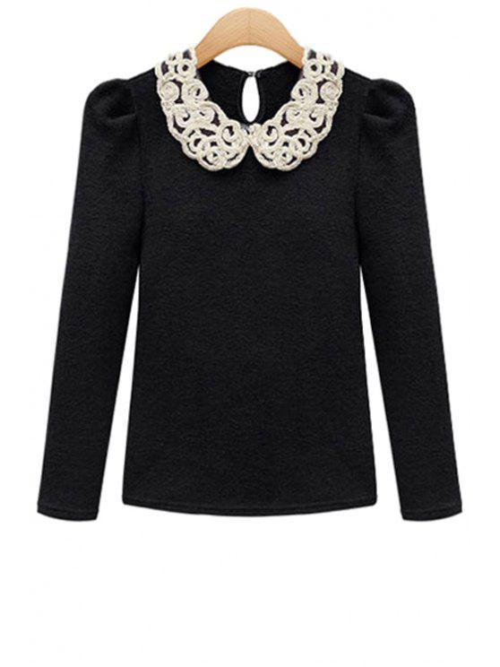 unique Peter Pan Collar Color Block Knitwear - BLACK S