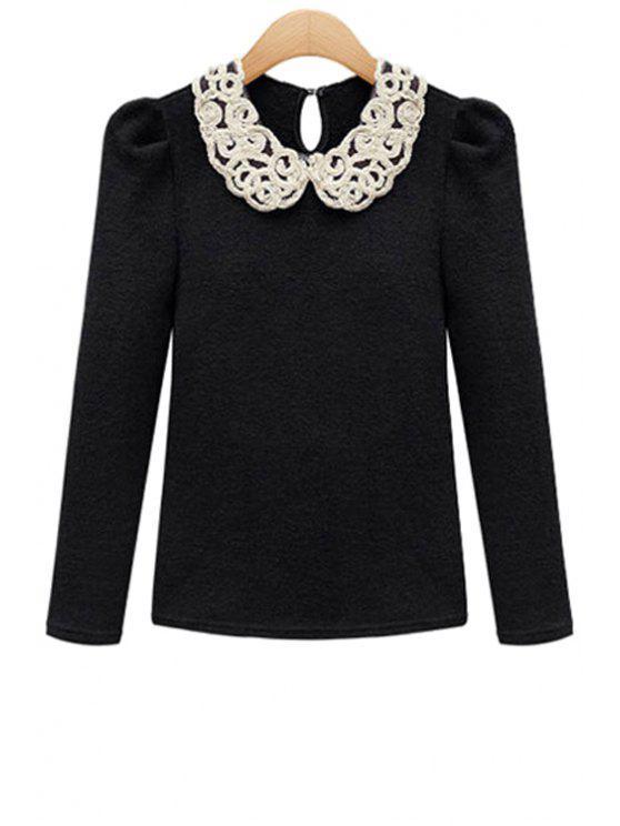 unique Peter Pan Collar Color Block Knitwear - BLACK S
