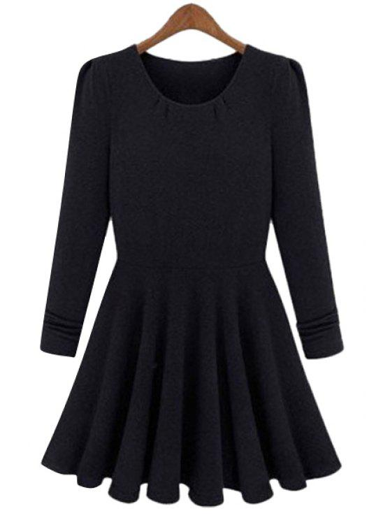 shop Solid Color Long Sleeves A-Line Dress - BLACK M