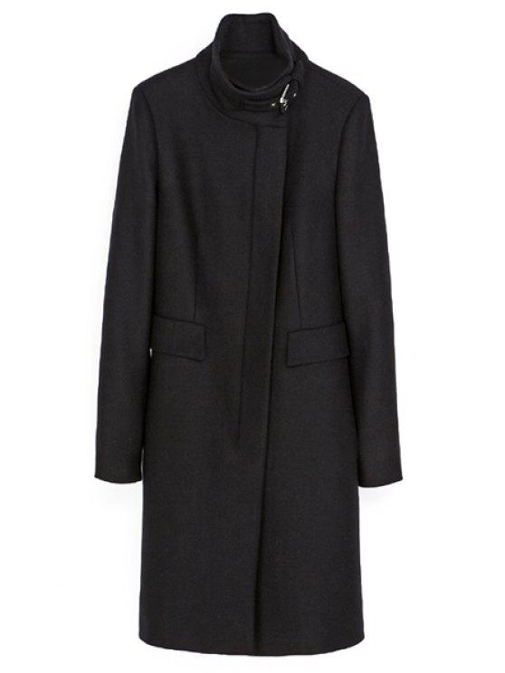 womens Stand Collar Black Worsted Coat - BLACK S